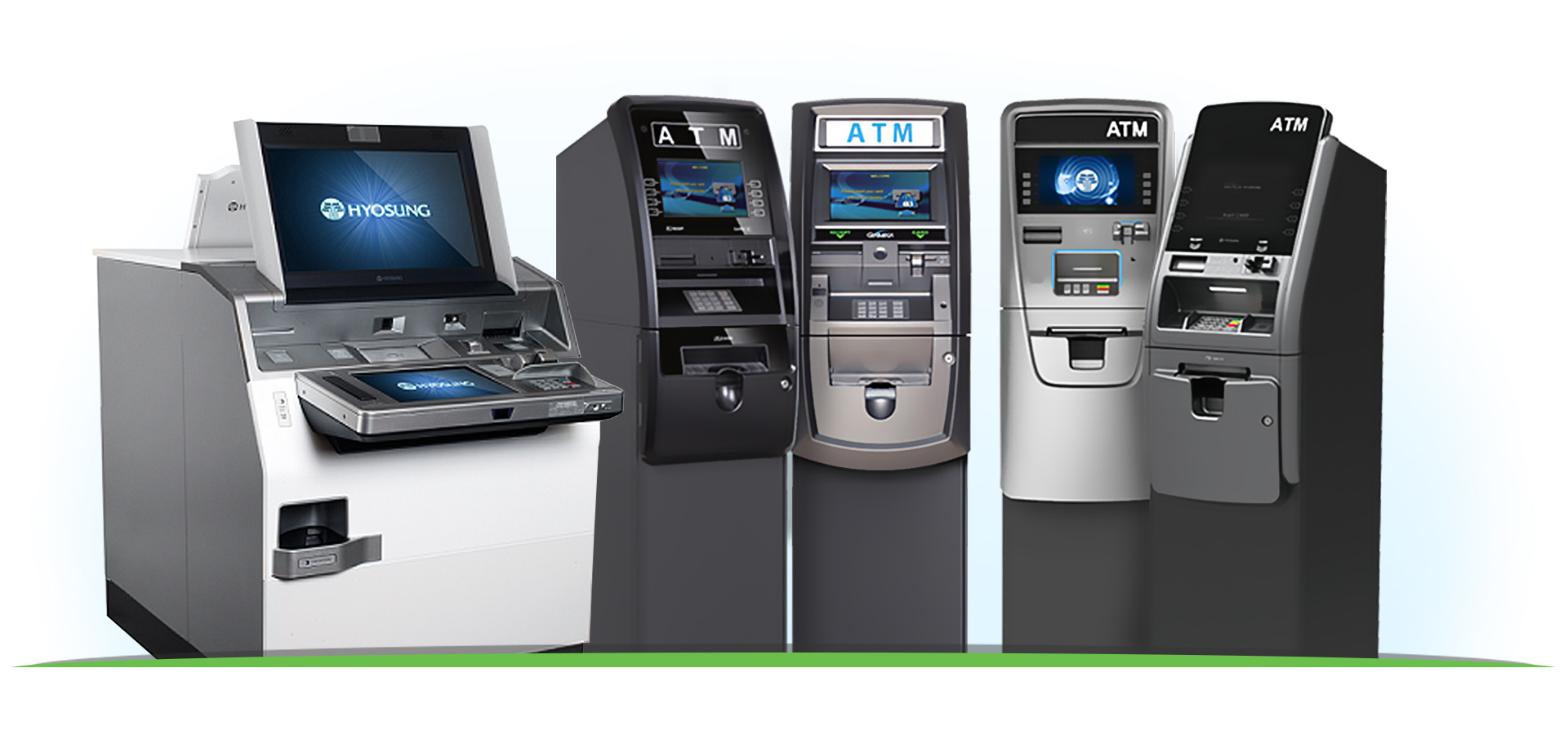 ATMs for lobby and branch transformation. Hyosung MX8800, HALO-II, Force ATMs, and Genmega ATMs