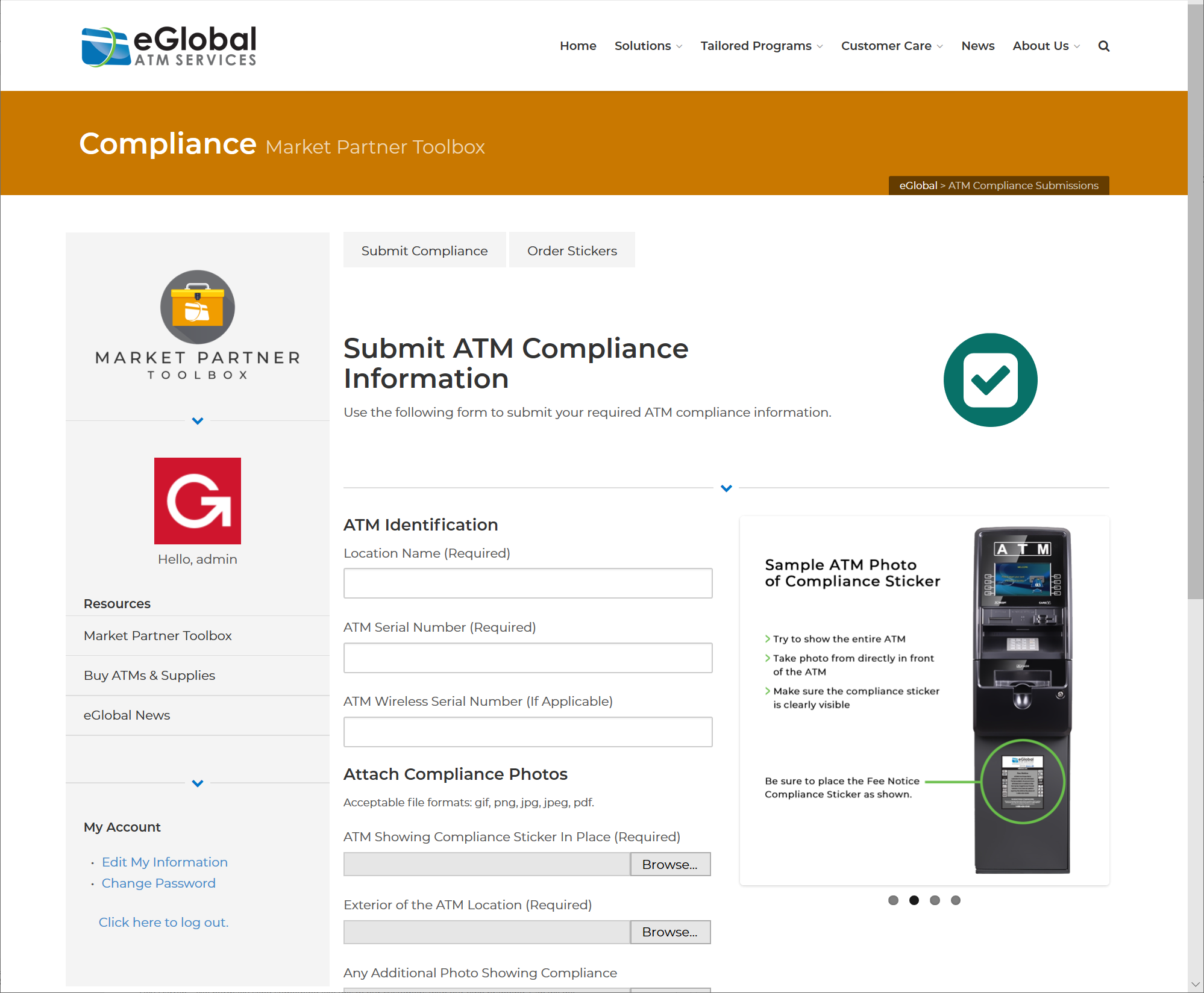 ATM Business Owner Services & Market Partner Toolbox Compliance Submissions